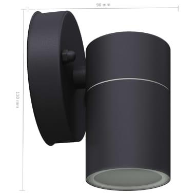 vidaXL Lauko LED sien. šviest., 2vnt., nerūd. plienas, šviesa į apačią[6/8]