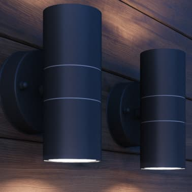 vidaXL Lauko LED sien. šviest., 2vnt., nerūd. plienas, į viršų/apačią[3/8]
