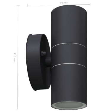 vidaXL Lauko LED sien. šviest., 2vnt., nerūd. plienas, į viršų/apačią[6/8]