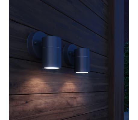 vidaXL Lauko sien. šviestuvai, 2vnt., nerūd. plienas, šviesa į apačią[1/6]