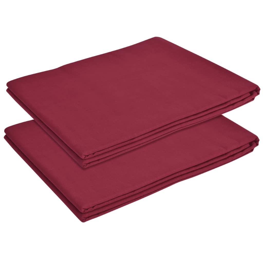 vidaXL Cearșaf de pat din bumbac, 146 x 260 cm, roșu burgund, 2 buc. poza 2021 vidaXL