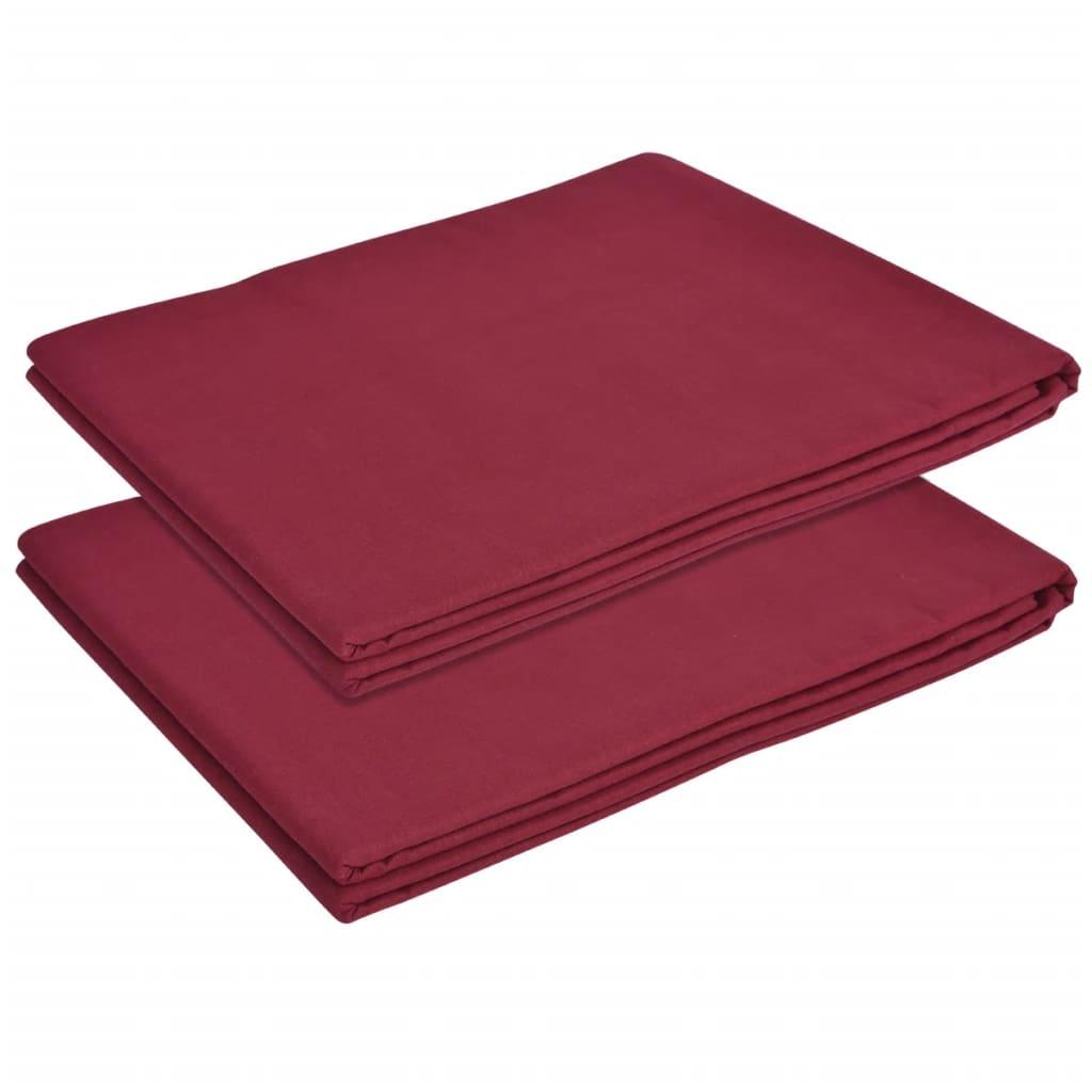 vidaXL Cearșaf de pat din bumbac 240 x 260 cm, burgundy, 2 buc. poza 2021 vidaXL
