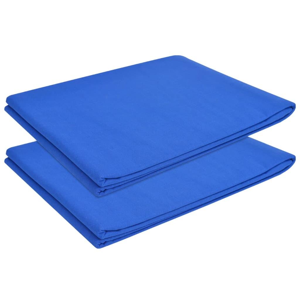 vidaXL Cearșaf pat din bumbac, 146 x 260 cm, albastru regal, 2 buc. imagine vidaxl.ro