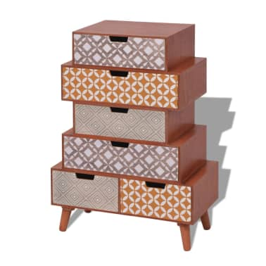 vidaXL Side Cabinet 6 Drawers Brown[2/6]