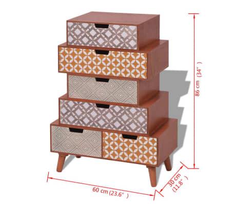vidaXL Side Cabinet 6 Drawers Brown[6/6]