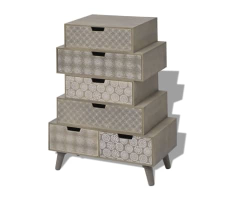 vidaXL Side Cabinet 6 Drawers Grey