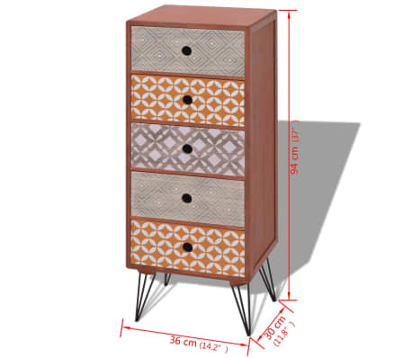 vidaXL Side Cabinet 5 Drawers Brown[6/6]