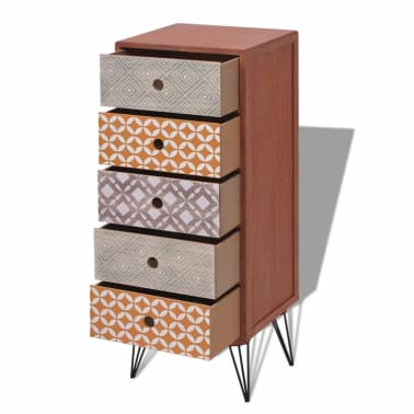 vidaXL Side Cabinet 5 Drawers Brown[4/6]