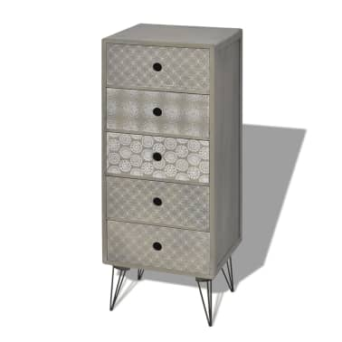 vidaXL Side Cabinet 5 Drawers Gray[2/6]
