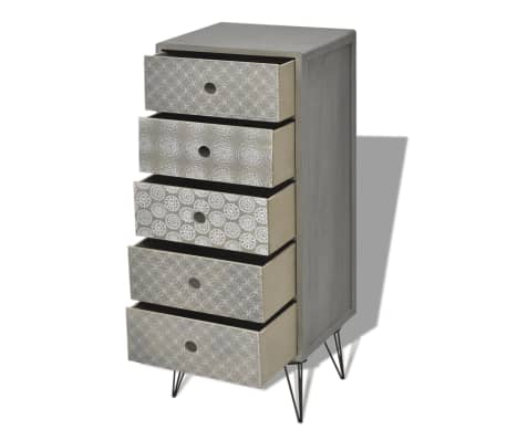 vidaXL Side Cabinet 5 Drawers Gray[4/6]