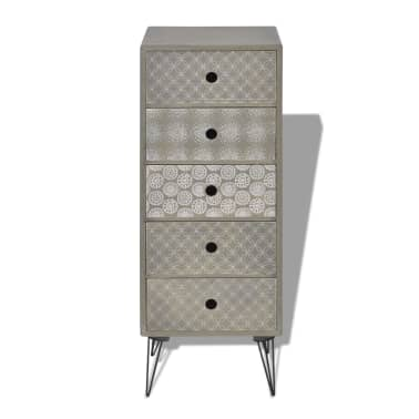vidaXL Side Cabinet 5 Drawers Gray[3/6]