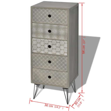 vidaXL Side Cabinet 5 Drawers Gray[6/6]