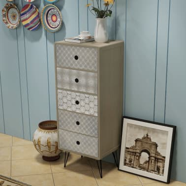 vidaXL Side Cabinet 5 Drawers Gray[1/6]