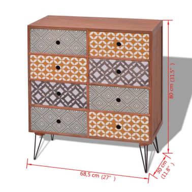 vidaXL Mueble auxiliar con 8 cajones marrón[5/5]