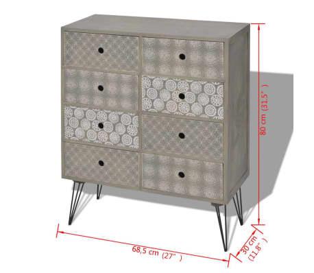 vidaXL Sideboard 8 Drawers Gray[5/5]