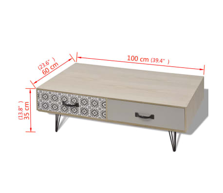 "vidaXL Coffee Table 39.4""x23.6""x13.8"" Beige[5/5]"