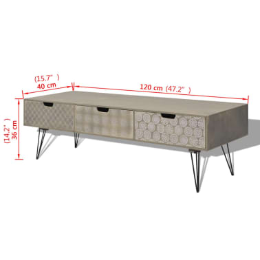 "vidaXL TV Cabinet with 3 Drawers 47.2""x15.7""x14.2"" Gray[5/5]"