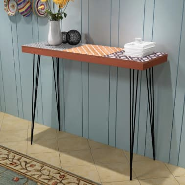 "vidaXL Console Table 35.4""x11.8""x28"" Brown[1/7]"