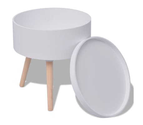 "vidaXL Side Table with Serving Tray Round 15.6""x17.5"" White[2/6]"