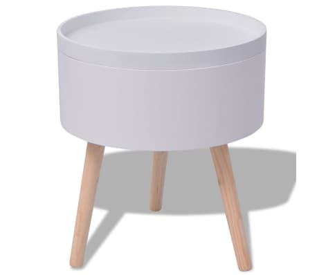 "vidaXL Side Table with Serving Tray Round 15.6""x17.5"" White[4/6]"
