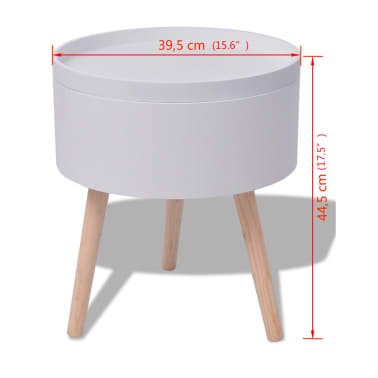 "vidaXL Side Table with Serving Tray Round 15.6""x17.5"" White[6/6]"