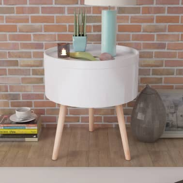 "vidaXL Side Table with Serving Tray Round 15.6""x17.5"" White[1/6]"