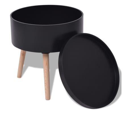 "vidaXL Side Table with Serving Tray Round 15.6""x17.5"" Black[2/6]"