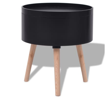 "vidaXL Side Table with Serving Tray Round 15.6""x17.5"" Black[4/6]"