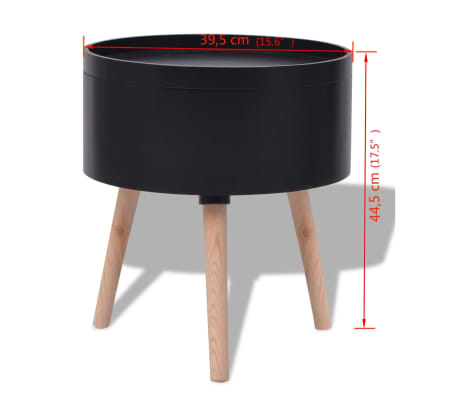 "vidaXL Side Table with Serving Tray Round 15.6""x17.5"" Black[6/6]"