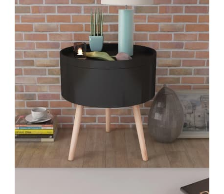 "vidaXL Side Table with Serving Tray Round 15.6""x17.5"" Black[1/6]"