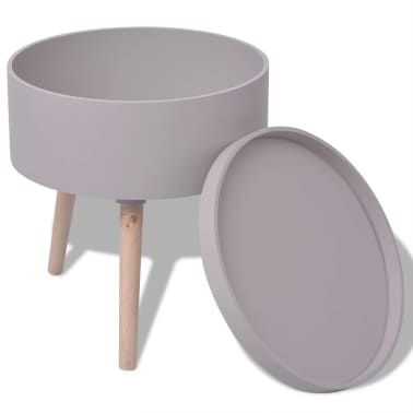 vidaXL Side Table with Serving Tray Round 39.5x44.5 cm Grey[2/6]