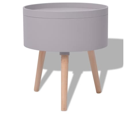 vidaXL Side Table with Serving Tray Round 39.5x44.5 cm Grey[4/6]