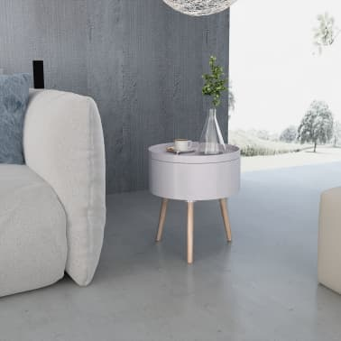 vidaXL Side Table with Serving Tray Round 39.5x44.5 cm Grey[3/6]