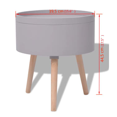 vidaXL Side Table with Serving Tray Round 39.5x44.5 cm Grey[6/6]