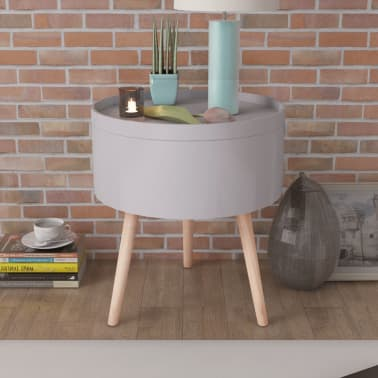 vidaXL Side Table with Serving Tray Round 39.5x44.5 cm Grey[1/6]