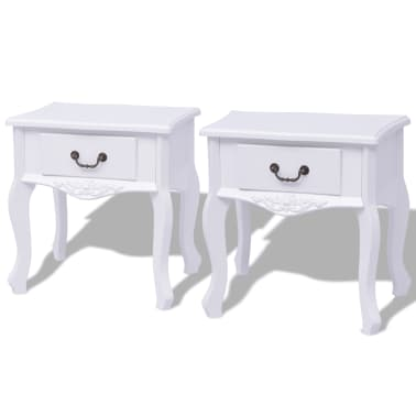 vidaXL Table de chevet 2 pcs MDF Blanc[2/6]