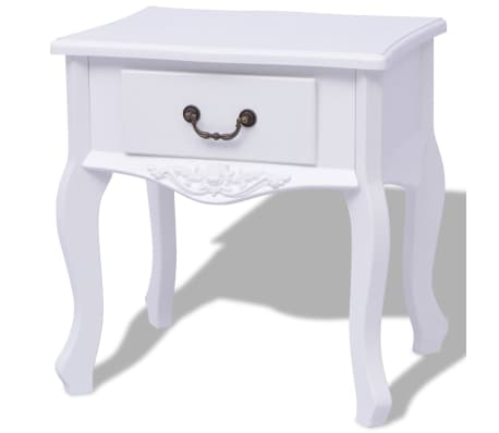 vidaXL Table de chevet 2 pcs MDF Blanc[3/6]