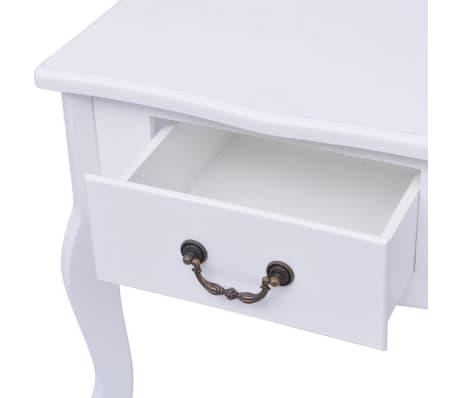vidaXL Table de chevet 2 pcs MDF Blanc[5/6]