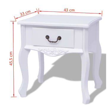 vidaXL Table de chevet 2 pcs MDF Blanc[6/6]
