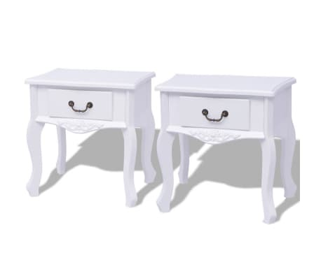 vidaXL Table de chevet 2 pcs MDF Blanc[1/6]