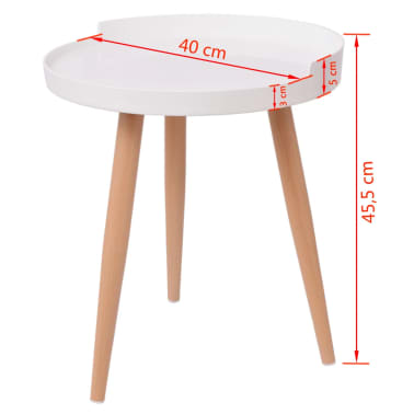 "vidaXL Tray Coffee Table Round 15.7""x17.9"" White[4/4]"