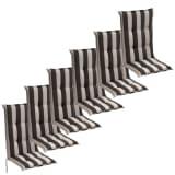 Almofadas assento para cadeiras de jardim 6 pcs 120x52 cm Risca Preta