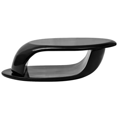 vidaXL Kavos staliukas, labai blizgus stiklo pluoštas, juodas[2/5]