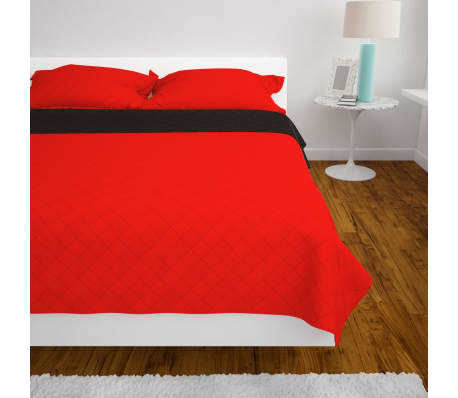 vidaXL Couvre-lit matelassé Rouge et noir 170 x 210 cm[4/5]