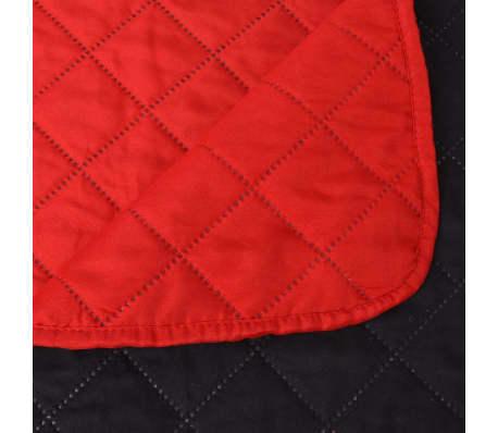 vidaXL Couvre-lit matelassé Rouge et noir 170 x 210 cm[5/5]