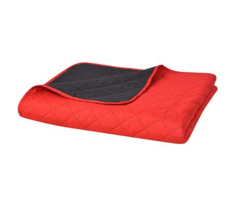 acheter vidaxl couvre lit double face matelass rouge et noir 220 x 240 cm pas cher. Black Bedroom Furniture Sets. Home Design Ideas