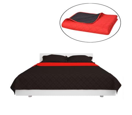 vidaXL Dubbelsidigt vadderat överkast röd och svart 220x240 cm[2/5]