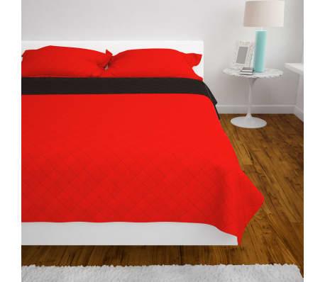 vidaXL Dubbelsidigt vadderat överkast röd och svart 220x240 cm[4/5]