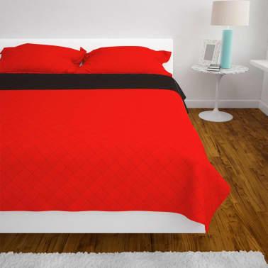vidaXL Dubbelsidigt vadderat överkast röd och svart 230x260 cm[4/5]