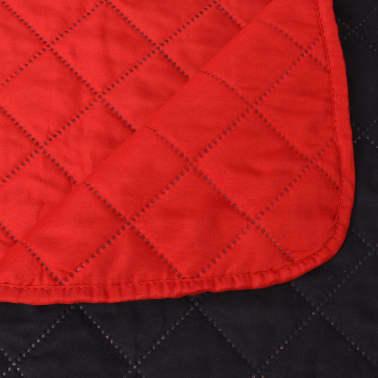 vidaXL Dvipusė dygsniuota lovatiesė, raudona ir juoda, 230x260 cm[5/5]